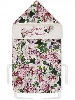 Спальный конверт с цветочным принтом Dolce & Gabbana Kids. Цвет: белый