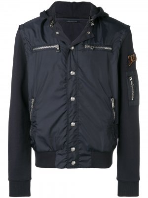 Куртка с капюшоном и нашивками Balmain. Цвет: синий