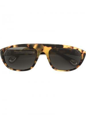 Солнцезащитные очки в черепаховой оправе Ann Demeulemeester. Цвет: телесный