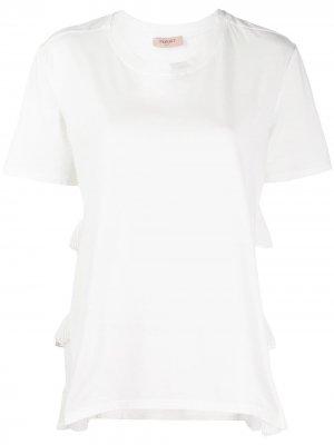 Ярусная футболка со вставками TWINSET. Цвет: белый