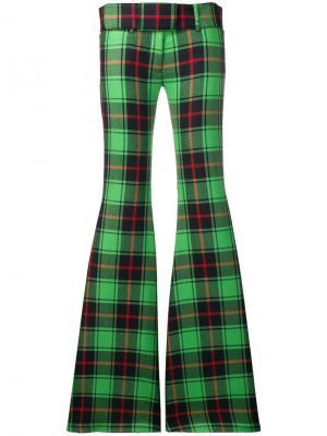 Расклешенные брюки в клетку Marco De Vincenzo. Цвет: зеленый