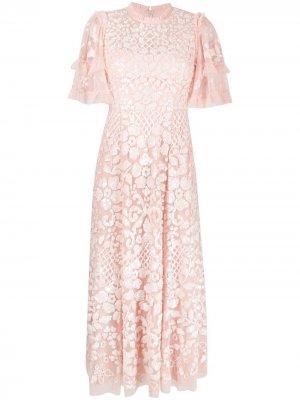 Расклешенное платье с вышивкой пайетками Needle & Thread. Цвет: розовый
