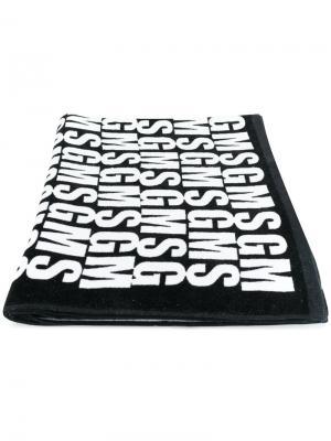 Пляжное полотенце с принтом логотипа MSGM. Цвет: черный