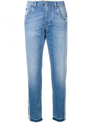 Зауженные джинсы с лампасами Dolce & Gabbana. Цвет: синий