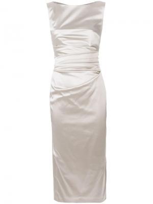 Платье миди со сборкой Talbot Runhof. Цвет: нейтральные цвета
