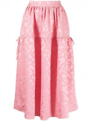 Жаккардовая расклешенная юбка с леопардовым принтом Stine Goya. Цвет: розовый