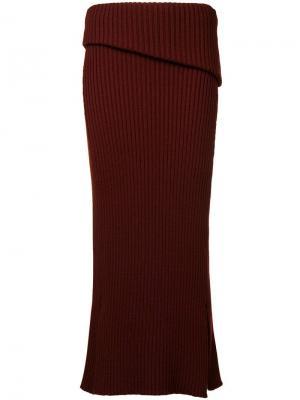Трикотажная юбка миди Jacquemus. Цвет: красный