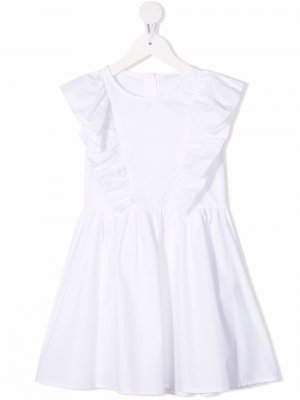 Платье с оборками Miss Grant Kids. Цвет: белый