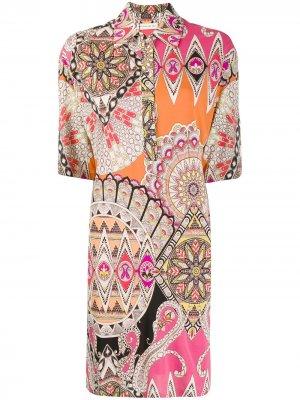 Платье-рубашка с узором Etro. Цвет: оранжевый