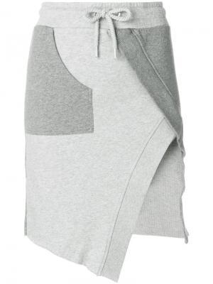 Асимметричная юбка в спортивном стиле Each X Other. Цвет: серый
