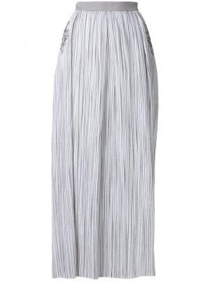 Юбка макси в полоску с отделкой пайетками Lorena Antoniazzi. Цвет: белый