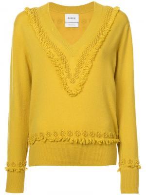 Пуловер с V-образным вырезом Romantic Timeless Barrie. Цвет: желтый