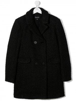 Пальто прямого кроя Emporio Armani Kids. Цвет: черный