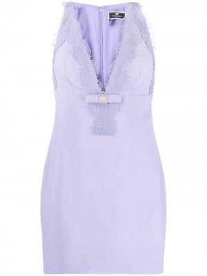 Платье мини с кружевом Elisabetta Franchi. Цвет: фиолетовый