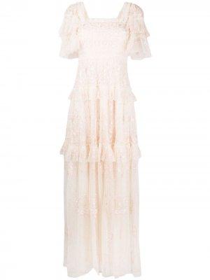 Платье с оборками и вышивкой Needle & Thread. Цвет: нейтральные цвета