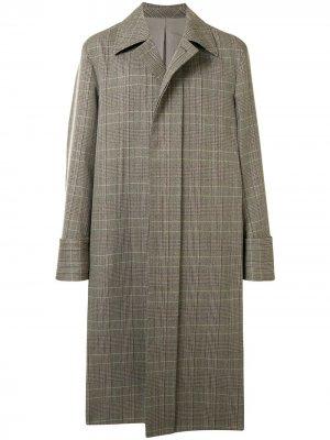 Однобортное пальто в клетку Wooyoungmi. Цвет: коричневый