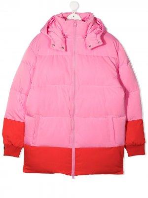Двухцветный пуховик Stella McCartney Kids. Цвет: розовый