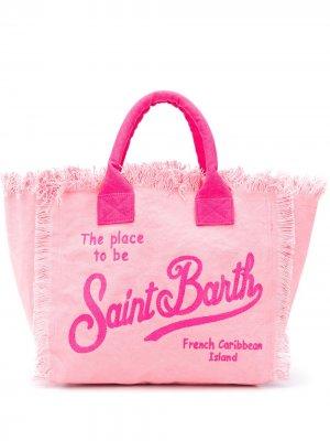 Пляжная сумка с логотипом и бахромой Mc2 Saint Barth. Цвет: розовый
