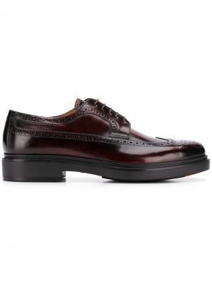Ботинки-оксфорды на шнуровке Santoni. Цвет: коричневый
