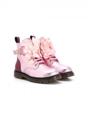 Ботинки с цветочным декором Monnalisa. Цвет: розовый