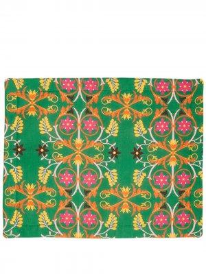 Набор из двух салфеток под приборы с цветочным принтом La Doublej. Цвет: зеленый