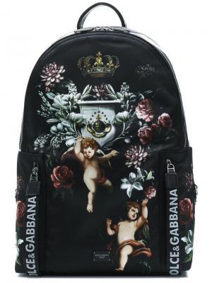 Рюкзак с принтом ангелов Dolce & Gabbana. Цвет: черный