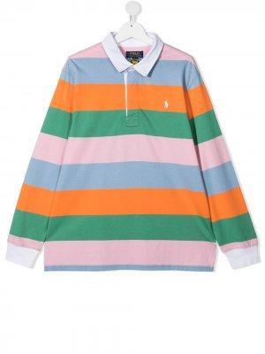 Рубашка поло Polo Pony в стиле колор-блок Ralph Lauren Kids. Цвет: зеленый