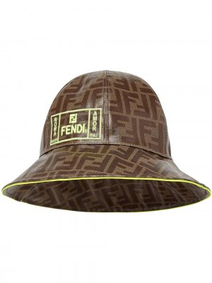 Панама с логотипом FF Fendi Kids. Цвет: коричневый