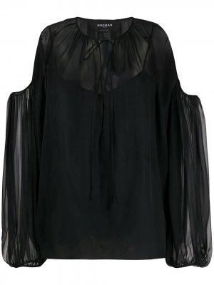 Полупрозрачная блузка с открытыми плечами Rochas. Цвет: черный