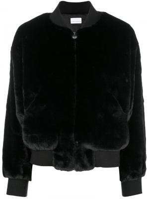 Logomania fur bomber jacket Chiara Ferragni. Цвет: черный