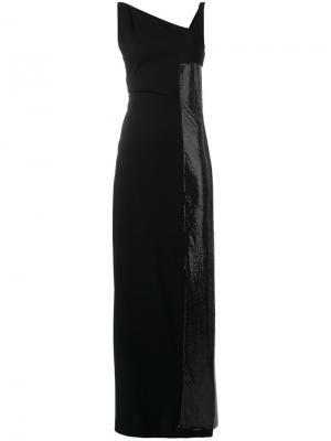 Платье макси с панельным дизайном и пайетками Paco Rabanne. Цвет: черный