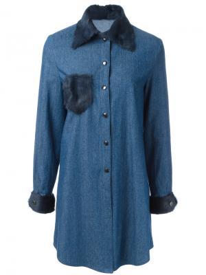 Платье-рубашка с меховой отделкой Liska. Цвет: синий