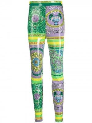 Легинсы с принтом Baroque Versace Collection. Цвет: зеленый