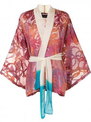 Куртка с завязками и узором Lisa Von Tang. Цвет: розовый