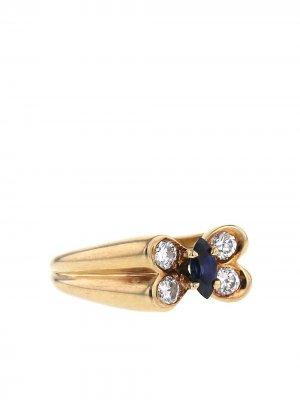 Кольцо 1980-х годов из желтого золота с и бриллиантами сапфиром Van Cleef & Arpels. Цвет: золотистый,white,blue