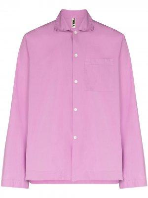 Поплиновая пижамная рубашка TEKLA. Цвет: фиолетовый