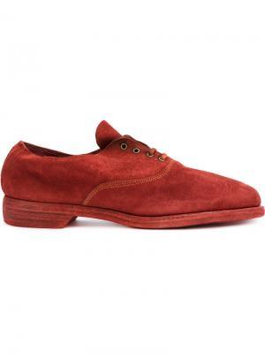 Оксфорды на шнуровке Guidi. Цвет: красный