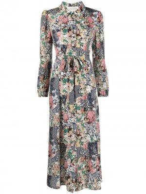 Платье в технике пэчворк с цветочным принтом Saloni. Цвет: нейтральные цвета