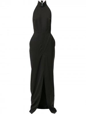 Платье макси асимметричного кроя с вырезом халтер Alexandre Vauthier. Цвет: черный