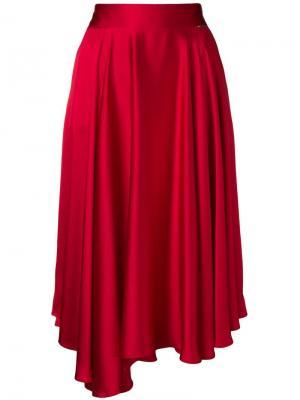 Асимметричная юбка миди Styland. Цвет: красный