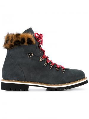 Ботинки по щиколотку с леопардовой оторочкой из меха норки Mr & Mrs Italy. Цвет: серый