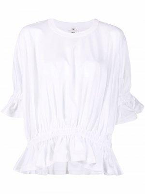 Блузка с короткими рукавами и сборками Comme Des Garçons Noir Kei Ninomiya. Цвет: белый