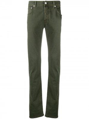 Прямые брюки с платком Jacob Cohen. Цвет: зеленый