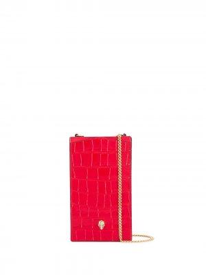 Чехол для телефона с декором Skull и цепочкой Alexander McQueen. Цвет: красный