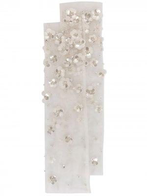 Носки с цветочной аппликацией Tutu Du Monde. Цвет: белый