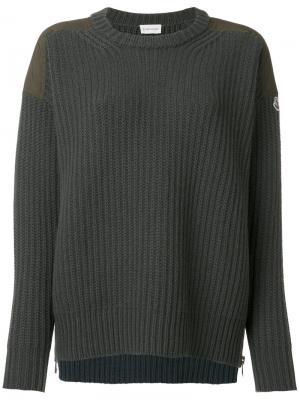 Классический трикотажный свитер Moncler. Цвет: зеленый