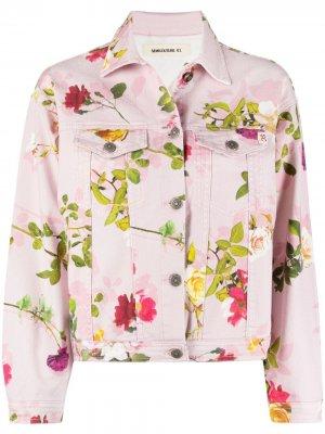 Джинсовая куртка с цветочным принтом Semicouture. Цвет: розовый