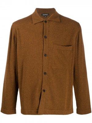 Трикотажная рубашка на пуговицах Evan Kinori. Цвет: коричневый