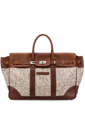 Дорожная сумка с нашивкой-логотипом Brunello Cucinelli. Цвет: серый