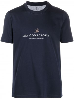 Футболка Be Conscious Brunello Cucinelli. Цвет: синий